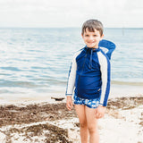 Kid's Long Sleeve Rash Guard Swim Shirt (Two-Tone) - Multiple Colors-SwimZip UPF 50+ Sun Protective Swimwear & UV Zipper Rash Guards-pos6