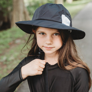 "Kid's Wide Brim Sun Hat ""Fun Sun Day Play Hat"" - Black - SwimZip Sun Protection Swimwear"