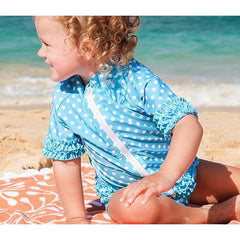 turquoise polka dot swimsuit zipper swimzip toddler