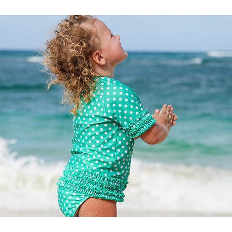 "Girl's Short Sleeve Rash Guard Swimsuit Set (2 Piece) - ""Sassy Surfer"" - Multiple Colors-12-18 Month-Green-SwimZip UPF 50+ Sun Protective Swimwear & UV Zipper Rash Guards-pos5"