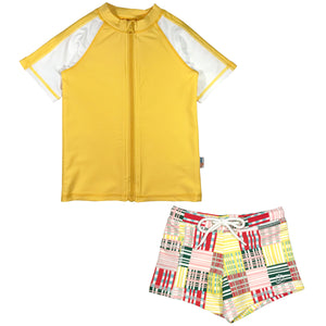 Kid's Short Sleeve Rash + Euro Shorties Rash Guard Set - Madras Mania-0-3 Month-Madras Mania-SwimZip UPF 50+ Sun Protective Swimwear & UV Zipper Rash Guards-pos1