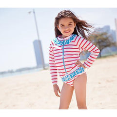 little girl long sleeve bathing suit coral stripe by swimzip