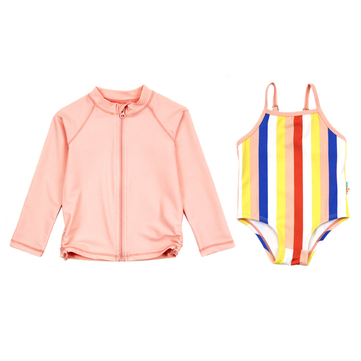 "Girl One-Piece Swimsuit and Long Sleeve Rash Guard Set UPF 50+ | ""Multi Stripe"" - SwimZip Sun Protection Swimwear"