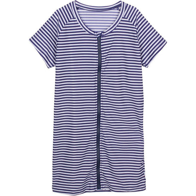 women's short sleeve rash guard shirt navy stripe swimzip