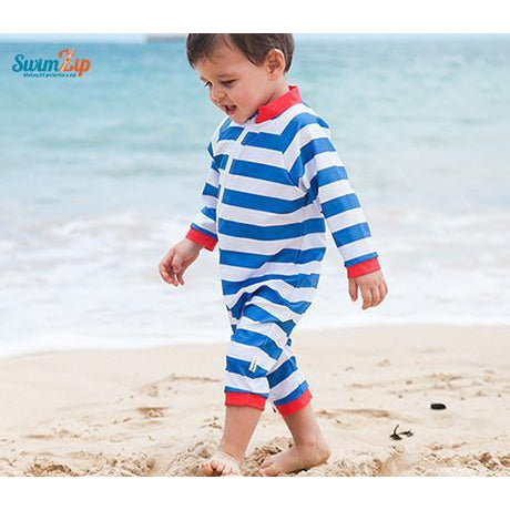 "Sunsuit - ""Crabby Pants"" Boy Long Sleeve Romper with UPF 50 UV Sun Protection - SwimZip Sun Protection Swimwear"