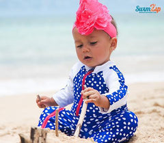 baby girl sunsuit blue beach zip by swimzip swimwear