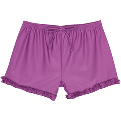big girl swim shorts modest ruffle purple upf uv swimzip