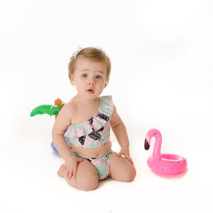 "Little Girl One-Shoulder + High Waist Bottom Swimsuit (2 Piece) - ""Palm Breeze"""