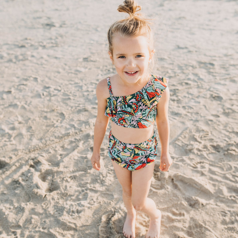 "Little Girl One-Shoulder + High Waist Bottom Swimsuit (2 Piece) - ""Butterfly Love""-SwimZip UPF 50+ Sun Protective Swimwear & UV Zipper Rash Guards-pos3"