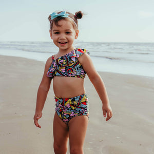 Girl's One-Shoulder Top + High Waist Bottoms Set - Multiple Colors-SwimZip UPF 50+ Sun Protective Swimwear & UV Zipper Rash Guards-pos7