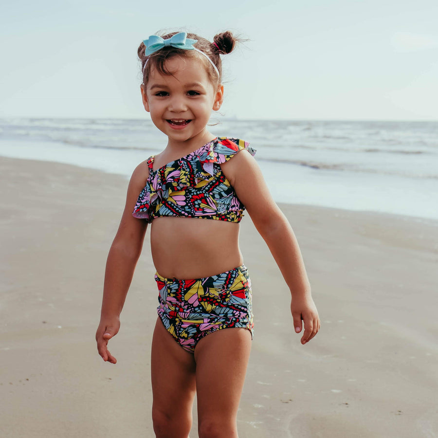 Girl's One-Shoulder Top + High Waist Bottoms Set - Multiple Colors - SwimZip Sun Protection Swimwear