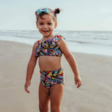"Little Girl One-Shoulder + High Waist Bottom Swimsuit (2 Piece) - ""Butterfly Love""-SwimZip UPF 50+ Sun Protective Swimwear & UV Zipper Rash Guards-pos2"