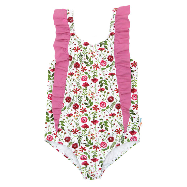"Girl's ""Too Sweet"" Ruffle One-Piece Swimsuit - Multiple Colors-6-12 Month-Floral Garden-SwimZip UPF 50+ Sun Protective Swimwear & UV Zipper Rash Guards-pos1"