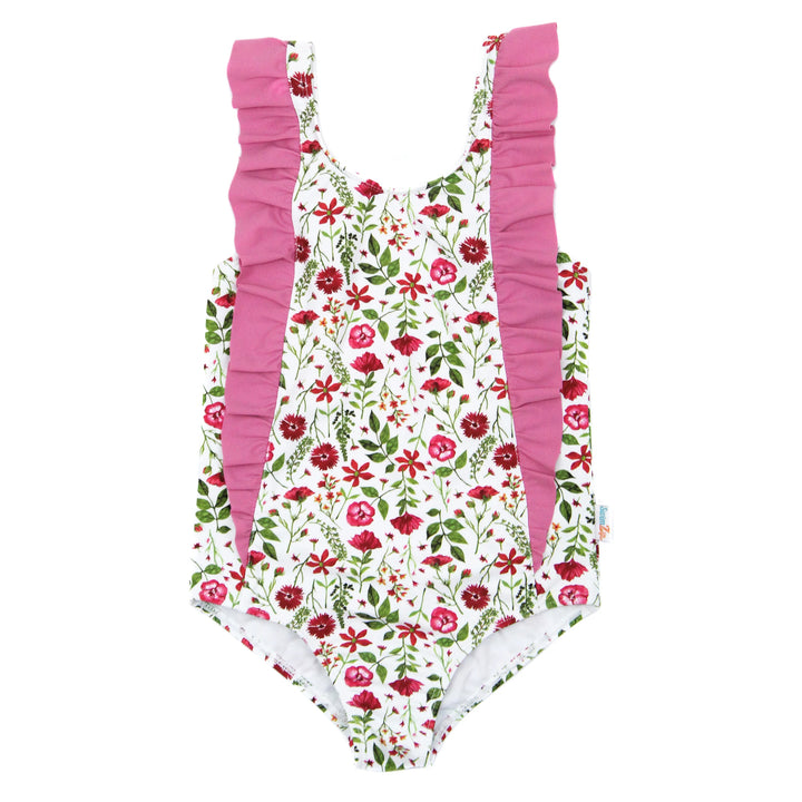"Girl's ""Too Sweet"" Ruffle One-Piece Swimsuit - Multiple Colors - SwimZip Sun Protection Swimwear"