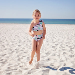 Girl's One-Shoulder Top + High Waist Bottoms Set - Multiple Colors-SwimZip UPF 50+ Sun Protective Swimwear & UV Zipper Rash Guards-pos5