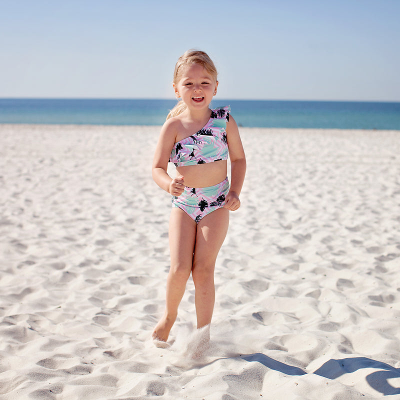 "Little Girl One-Shoulder + High Waist Bottom Swimsuit (2 Piece) - ""Palm Breeze""-SwimZip UPF 50+ Sun Protective Swimwear & UV Zipper Rash Guards-pos2"