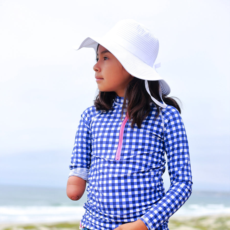 Girls' Wide Brim Sun Hat - White - SwimZip Sun Protection Swimwear