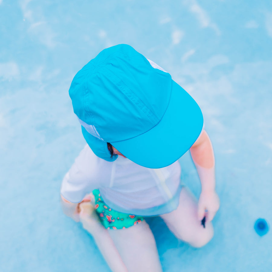 Kid's Flap Hat - Aqua - SwimZip Sun Protection Swimwear