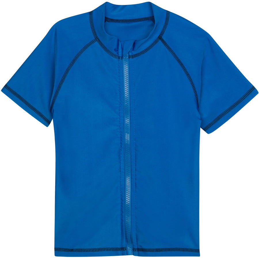 Kid's Short Sleeve Rash Guard Swim Shirt - Blue - SwimZip Sun Protection Swimwear