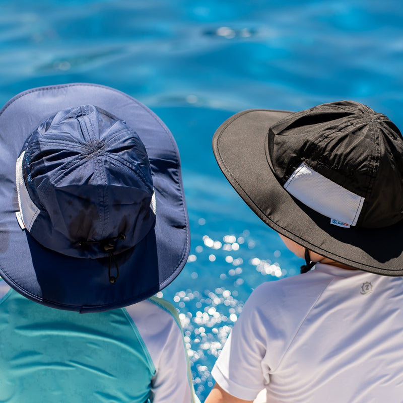 "Kid's Wide Brim Sun Hat ""Fun Sun Day Play Hat"" - Navy-SwimZip UPF 50+ Sun Protective Swimwear & UV Zipper Rash Guards-pos8"