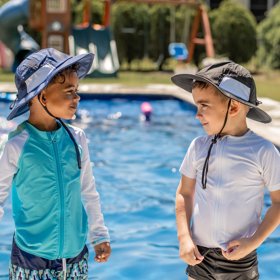"Kid's Wide Brim Sun Hat ""Fun Sun Day Play Hat"" - Navy - SwimZip Sun Protection Swimwear"