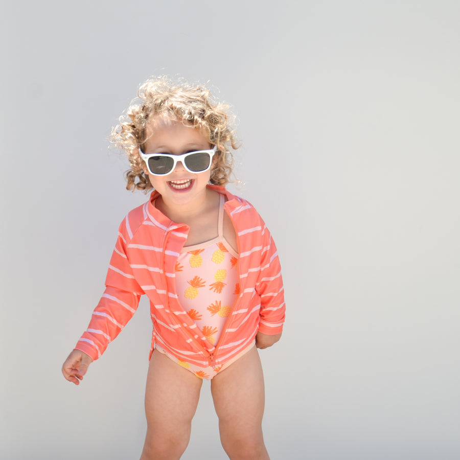 Sunglasses for Kids - Bendable Frames and 100% UV Protection | White Wayfarer