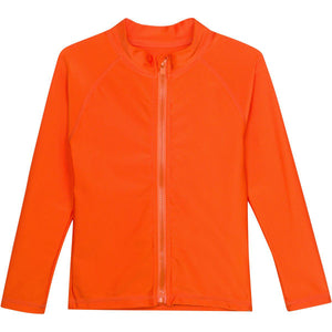 Kid's Long Sleeve Rash Guard Swim Shirt - Orange - SwimZip Sun Protection Swimwear