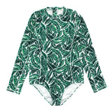 Women's Long Sleeve Surf Suit (1 Piece Body Suit) - Multiple Colors-XS-Palm Leaf-SwimZip UPF 50+ Sun Protective Swimwear & UV Zipper Rash Guards-pos8