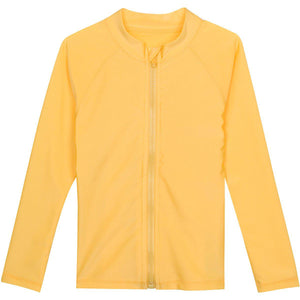 Kid's Long Sleeve Rash Guard Swim Shirt - Multiple Colors-6-12 Month-Yellow-SwimZip UPF 50+ Sun Protective Swimwear & UV Zipper Rash Guards-pos3