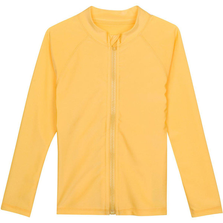 Kid's Long Sleeve Rash Guard Swim Shirt - Yellow - SwimZip Sun Protection Swimwear