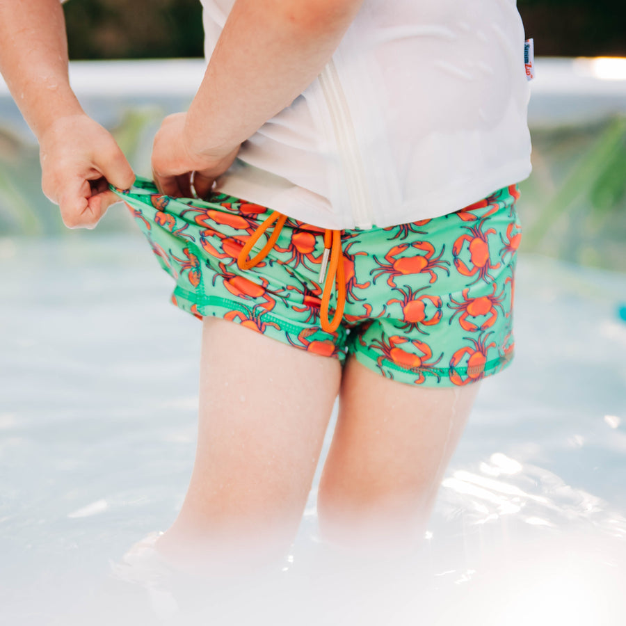 "Kid's Euro Swim Shorties - ""Don't Be A Crab - SwimZip Sun Protection Swimwear"