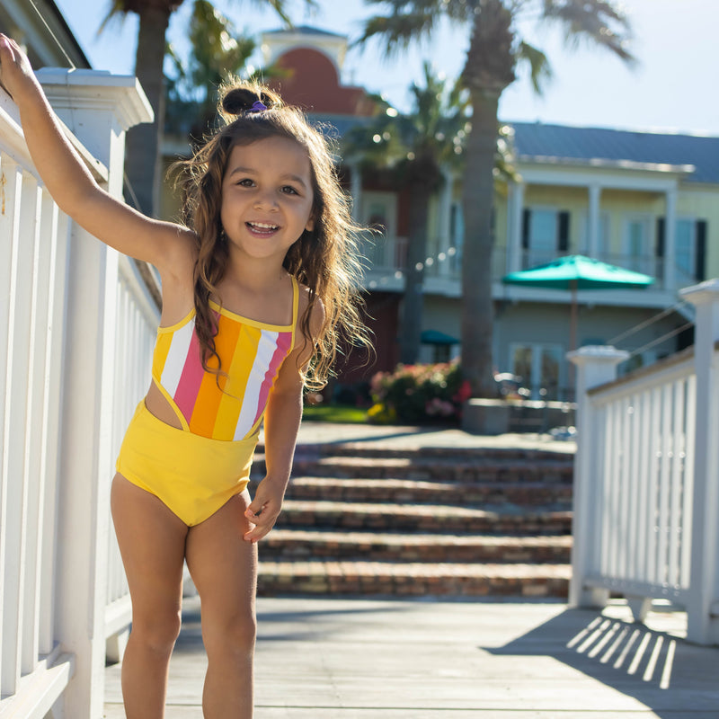 "Girl's One-Piece Cut Out Swimsuit and Long Sleeve Rash Guard Set - ""Be Bold""-SwimZip UPF 50+ Sun Protective Swimwear & UV Zipper Rash Guards-pos5"