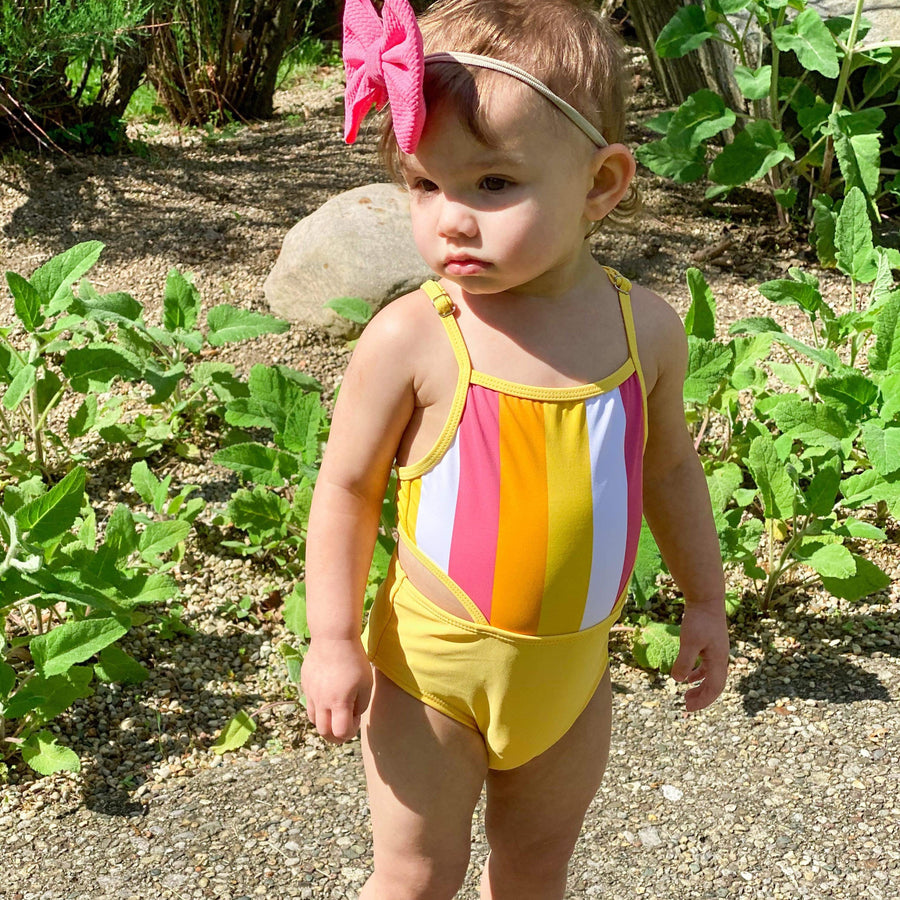 "Girl's One-Piece Cut Out Swimsuit and Long Sleeve Rash Guard Set - ""Be Bold"" - SwimZip Sun Protection Swimwear"