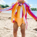 "Girl's One-Piece Cut Out Swimsuit and Long Sleeve Rash Guard Set - ""Be Bold""-SwimZip UPF 50+ Sun Protective Swimwear & UV Zipper Rash Guards-pos11"
