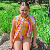 Girl's Short Sleeve Rash Guard with Tankini + Bikini Bottoms Set (3 Piece) - Multiple Colors-SwimZip UPF 50+ Sun Protective Swimwear & UV Zipper Rash Guards-pos7