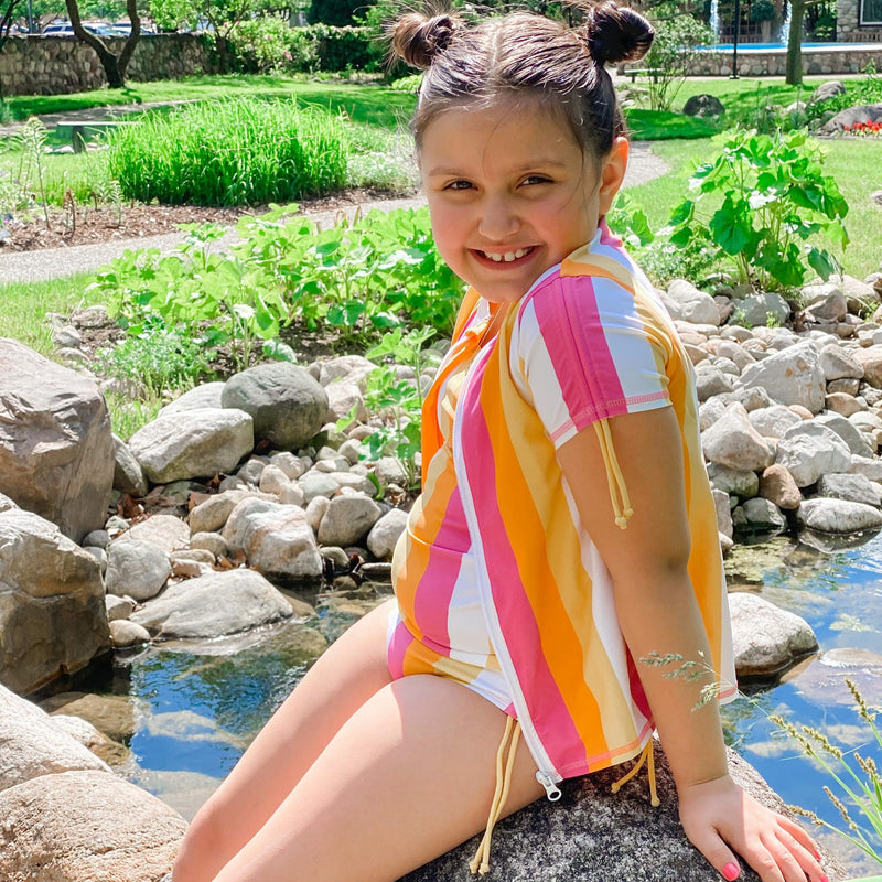 Girl's Short Sleeve Rash Guard with Tankini + Bikini Bottoms Set (3 Piece) - Multiple Colors-SwimZip UPF 50+ Sun Protective Swimwear & UV Zipper Rash Guards-pos6