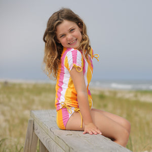 "Girl's Short Sleeve Rash Guard with Tankini + Bikini Bottoms Set (3 Piece) - ""Be Bold"" - SwimZip Sun Protection Swimwear"