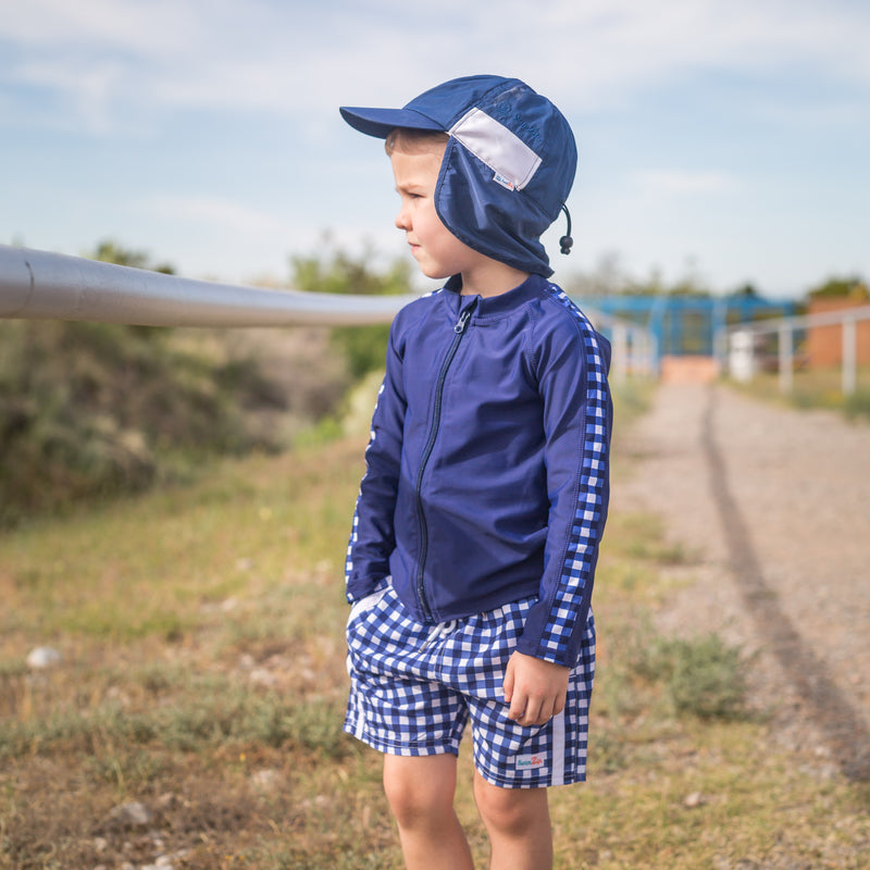 "Boy's Long Sleeve Rash Guard and Swim Trunk Set - ""Navy Gingham""-SwimZip UPF 50+ Sun Protective Swimwear & UV Zipper Rash Guards-pos9"