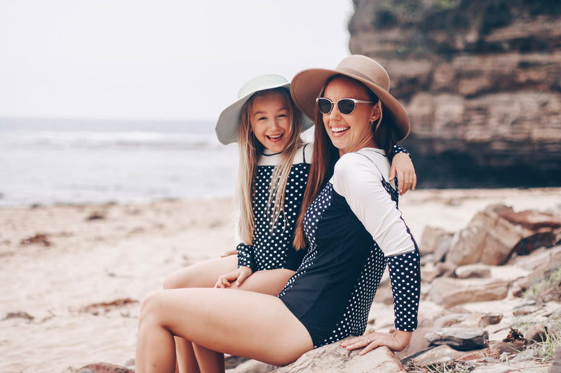 Women's Long Sleeve Surf Suit (1 Piece Body Suit) - Black Polka Dot-SwimZip UPF 50+ Sun Protective Swimwear & UV Zipper Rash Guards-pos9