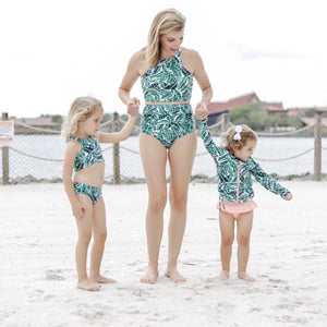"Women's High Waist Bikini Bottoms - ""Palm Leaf""-SwimZip UPF 50+ Sun Protective Swimwear & UV Zipper Rash Guards-pos7"