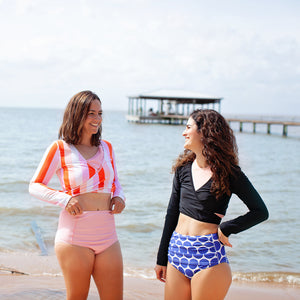 "Women UPF 50+ Swim Wrap Top (1 Piece) | ""Peach Stripes"" - SwimZip Sun Protection Swimwear"