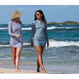 "Women's Sophisticated Swim Dress Cover Up - Navy Stripe ""Stunner""-SwimZip UPF 50+ Sun Protective Swimwear & UV Zipper Rash Guards-pos4"