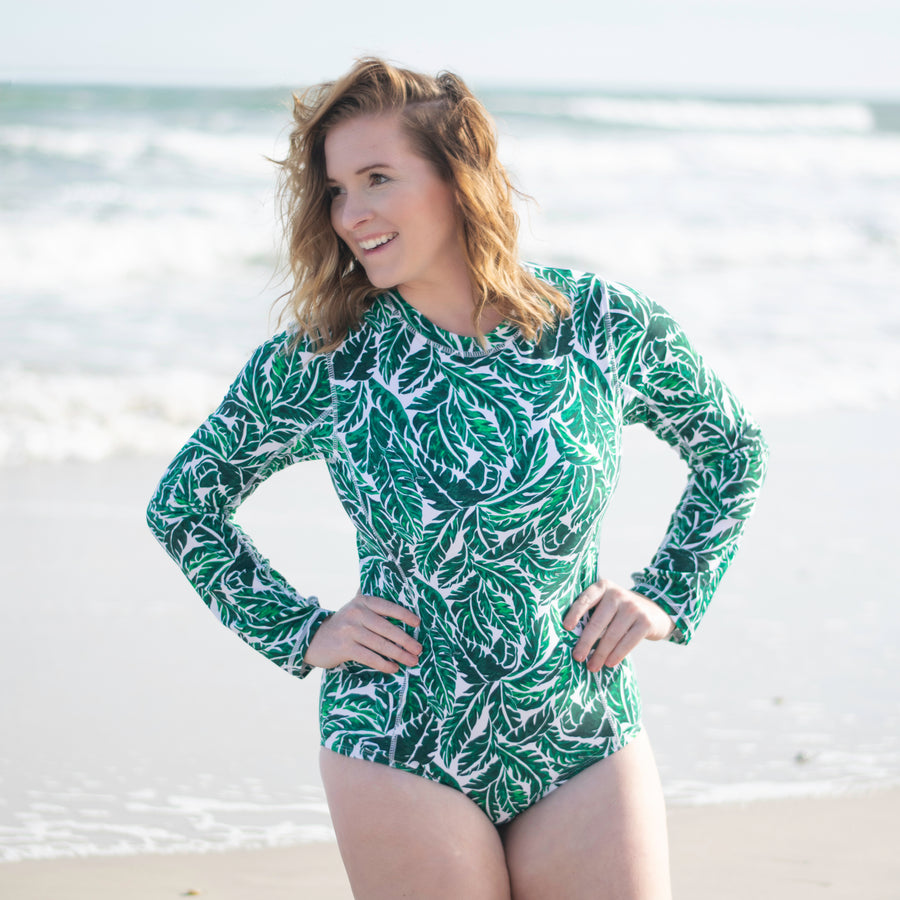 "Women's Long Sleeve Surf Suit (1 Piece Body Suit) - ""Palm Leaf""-SwimZip UPF 50+ Sun Protective Swimwear & UV Zipper Rash Guards-pos2"