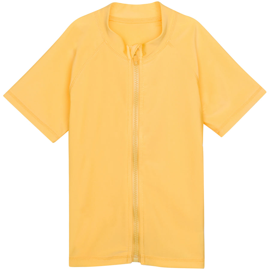Kid's Short Sleeve Rash Guard Swim Shirt - Yellow - SwimZip Sun Protection Swimwear