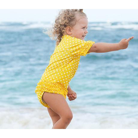 "Girl's Short Sleeve Rash Guard Swimsuit Set (2 Piece) - ""Sassy Surfer"" - Multiple Colors-12-18 Month-Yellow-SwimZip UPF 50+ Sun Protective Swimwear & UV Zipper Rash Guards-pos7"