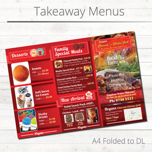 Takeaway Menus | A4, A5, DL, A6 | Custom Printed | Free Delivery