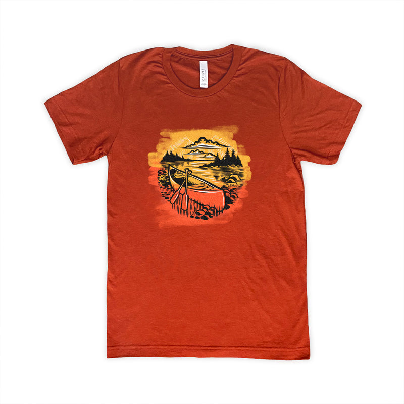 Outdoor Series Canoe T-shirt Brick color