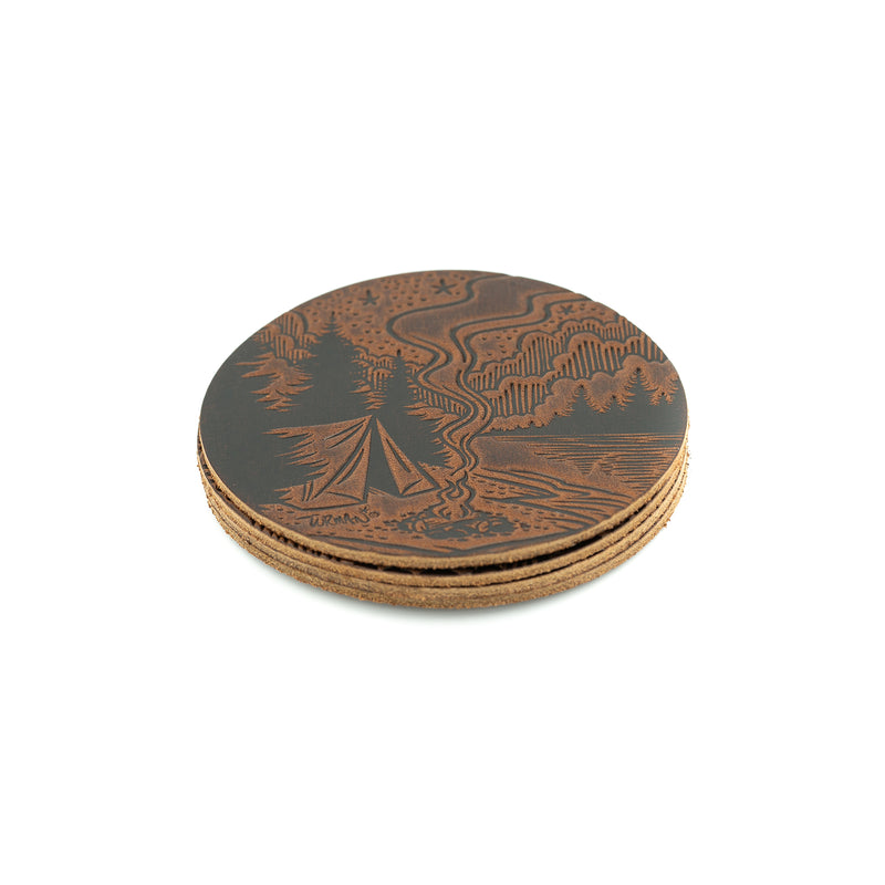 Turman x Leather Works MN Coasters - Mahogany