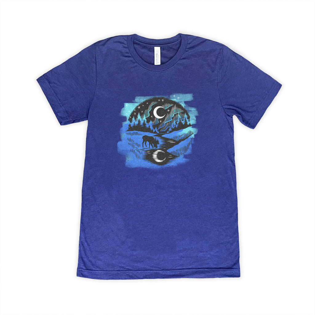 Outdoor Series Moose and Moon T-shirt Navy color