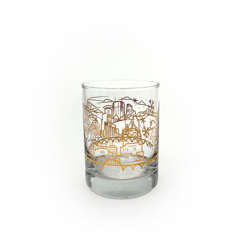 Skyline Gold Foil Whiskey Glass